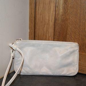 Coach Leather Bone Zip Wallet Wristlet